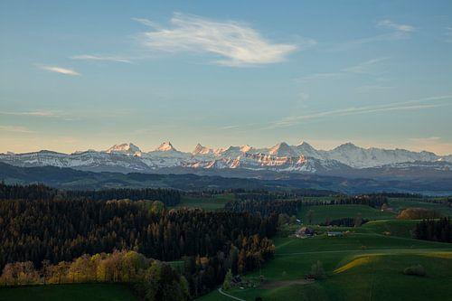 Blick ins Emmental hin zu den Berner Alpenkette bei Sonnenaufgang