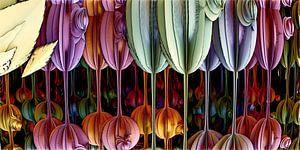 Kunst met digitale bloemen van W J Kok