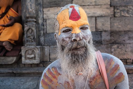 Portret van een naga sadhu uit Kathmandu Nepal. Wout Kok One2expose van Wout Kok