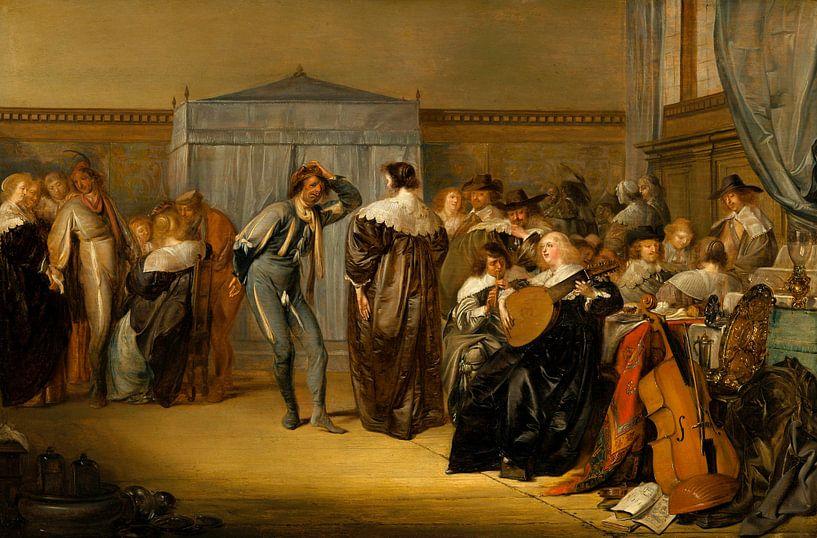 Fröhliche Gesellschaft mit maskierten Tänzern, Pieter Codde von Meesterlijcke Meesters