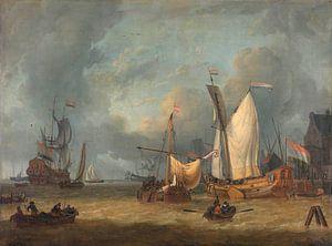 Schepen in de haven in een stijve bries, Jan Claesz. Rietschoof