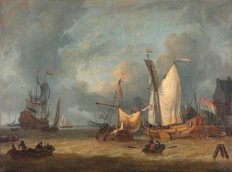 Schepen in de haven in een stijve bries, Jan Claesz. Rietschoof van Meesterlijcke Meesters