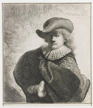 Selbstbildnis mit Hut mit schlaffer Kante und besticktem Umhang, Rembrandt van Rijn