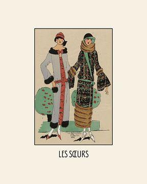 Les soeurs  - De zussen | Art Deco Fashion print van NOONY