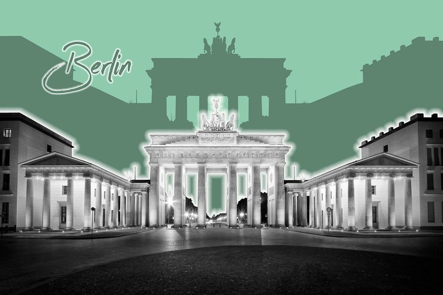 Berlin Brandenburg Gate | Graphic Art | groen van Melanie Viola