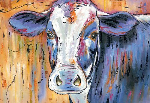 Mmmmmmmoo - Koeien Schilderij De Denkende Koe - Koeien Kunst Koeienkunst van