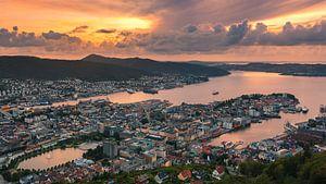 Zonsondergang Bergen, Noorwegen