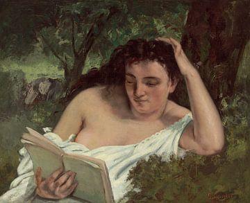 Een jonge vrouw die leest, Gustave Courbet...