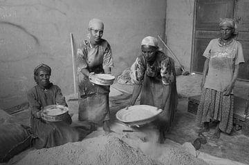 Tef bereiden voor de enjera, Ethiopia van