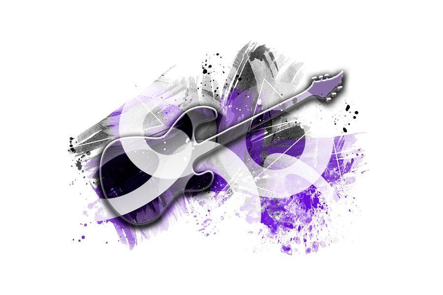 Graphic Art Guitar | purple van Melanie Viola