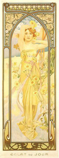 Tijden van de Dag: Dag Helderheid - Art Nouveau Schilderij Mucha Jugendstil van Alphonse Mucha