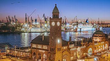 HAMBURG Landungsbrücken 2 mit Kreuzfahrtschiffen 16:9 Panoramabild