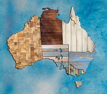 Karte von Australien Holz von Rene Ladenius Digital Art