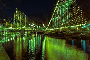 Abstract Jeneverboot Schiedam met Kerst van Elena Sinitsina