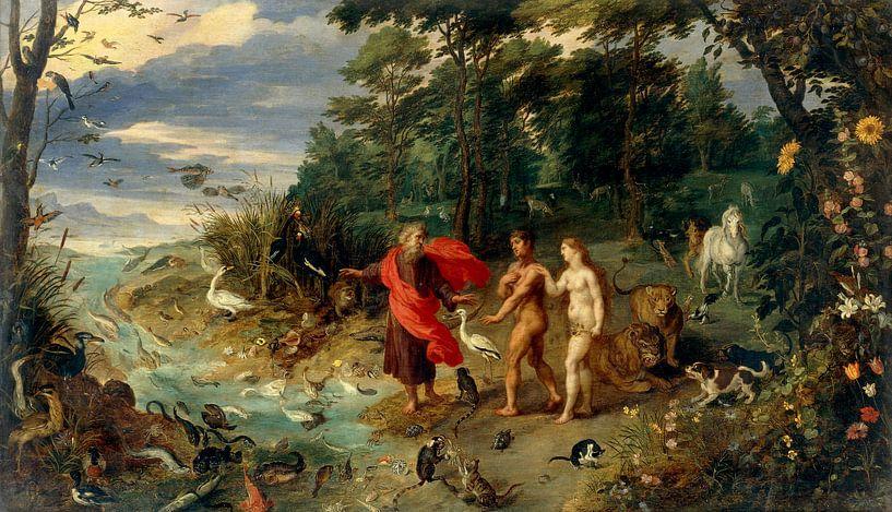 Adam und Eva im Garten Eden, Jan Brueghel de Jonge von Meesterlijcke Meesters