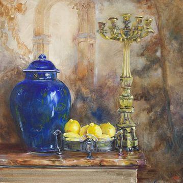 Olieverf schilderij Blauwe Chinese vaas