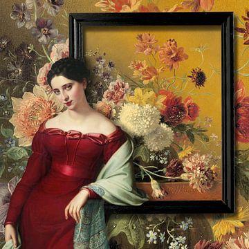 Vrouw, leunend op schilderij.  van Marja van den Hurk