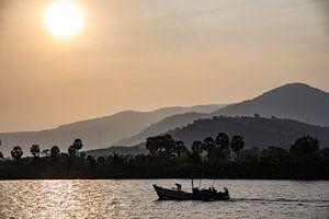 Vissersboot op de Mekong Rivier