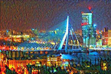 Peinture colorée Pont Erasmus Rotterdam en soirée sur Slimme Kunst.nl