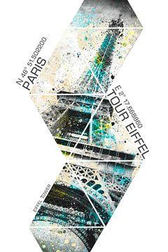 Coördinaten CITY ART eiffeltoren van Melanie Viola