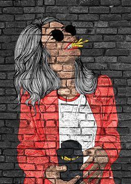 Lustige junge Frau Graffiti auf schwarzer Mauer von KalliDesignShop