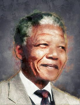 Olieverf portret van Nelson Mandela van Bert Hooijer