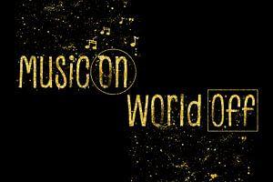 Text art MUSIC ON – WORLD OFF   golden
