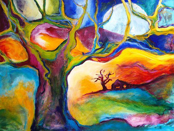 Landschap met boom en boerderijtje kleurrijk van Eveline van Oudbroekhuizen