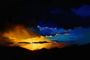 Expressief schilderij van een landschap met bergen van