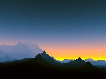 Montagnes au coucher du soleil van