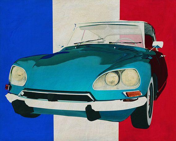 Citroen DS met Franse vlag