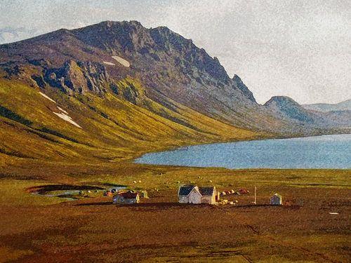 Avond in Alftavatn, IJsland van