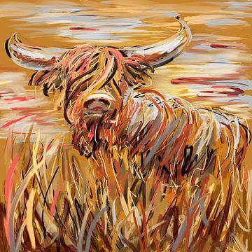 Impressionistische Arbeit - Sommer schottische Highlander von Emiel de Lange