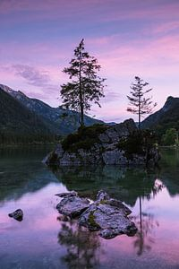 Rosa Sonnenuntergang, Hintersee Deutschland von Bob Slagter