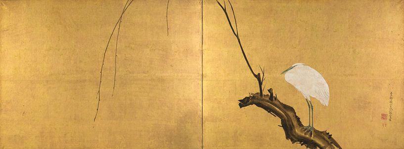 Maruyama Okyo - Heron on a Willow Branch van 1000 Schilderijen