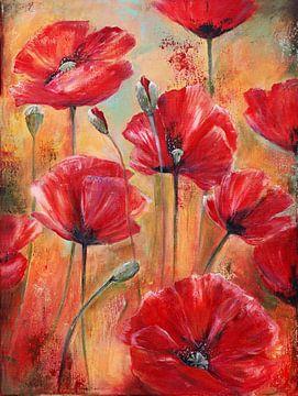 summermemories... ( poppies in the field) van Els Fonteine