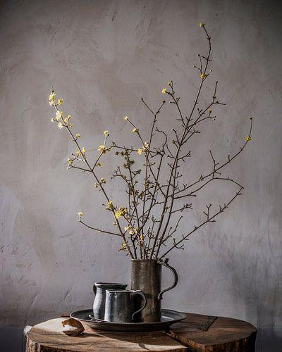 Stilleven met voorjaarsbloesem en tinnen bierpullen op hout