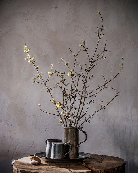 Stilleven met voorjaarsbloesem en tinnen bierpullen op hout van Affect Fotografie