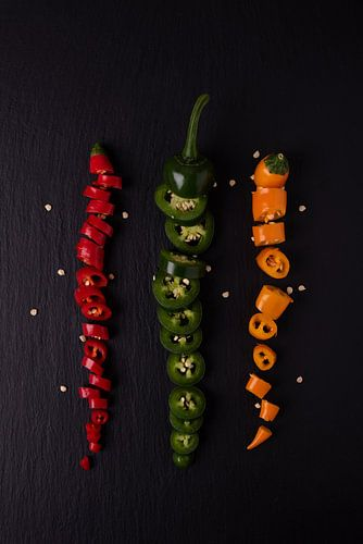 drie gekleurde pepers 1 van 2