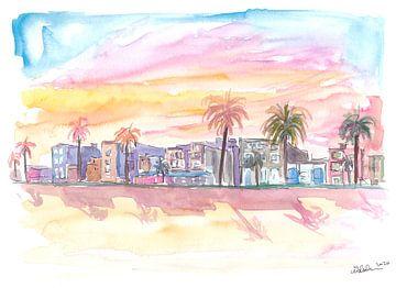 Venice Beach Kalifornien Wasserfrontansicht bei Sonnenuntergang von Markus Bleichner