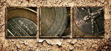 Triptych art van de euromunt van Gilbert Gordijn