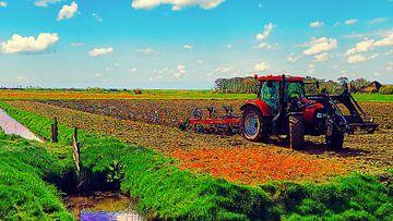 Traktor auf dem Land von Digital Art Nederland