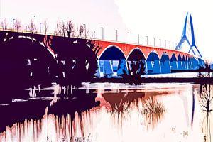 De brug De Oversteek over de Waal bij Nijmegen