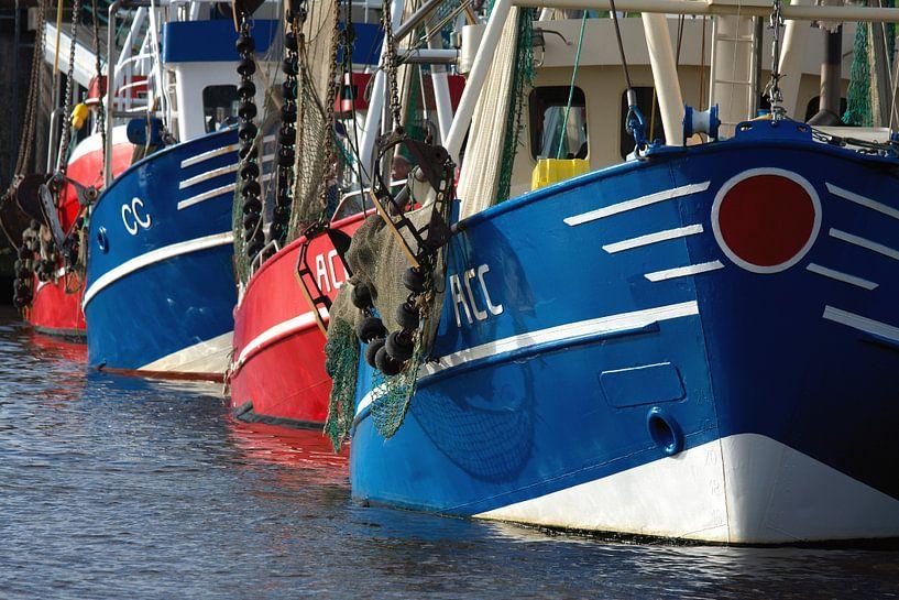 Vis trawlers afgemeerd in de haven van Jan Brons