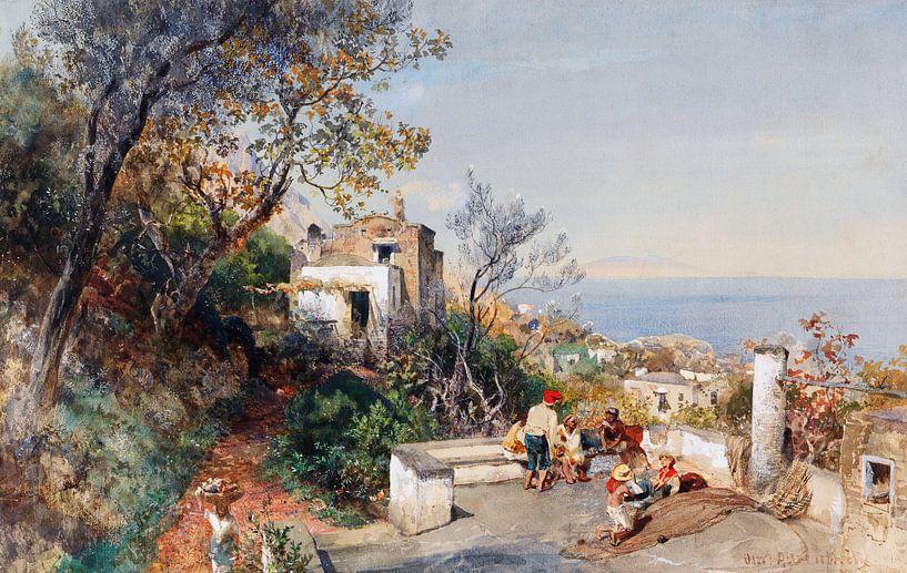 Oswald Achenbach.Blick auf Neapel von 1000 Schilderijen