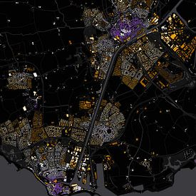 Abstracte kaart Middelburg en Vlissingen sur Stef Verdonk