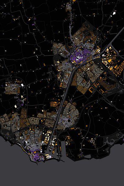 Abstracte kaart Middelburg en Vlissingen van Stef Verdonk