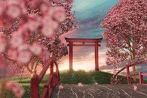 Japanse schrijn omringd door kersenbloesembomen in de zonsondergang