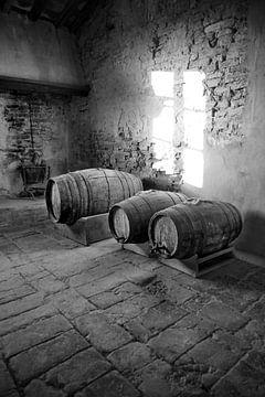 Weinfässer im alten Schloss von Tom Van Dyck