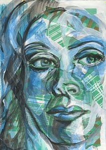 Architectonisch portret in blauw en groen